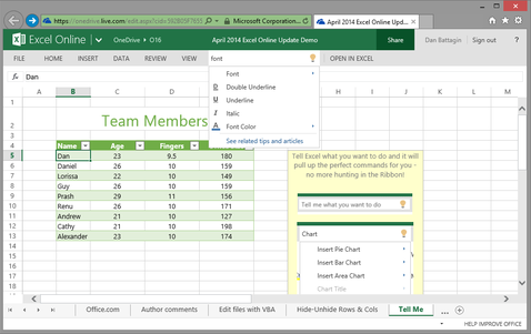 """Excel """"Tell Me"""""""